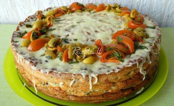 Špinatinis blynų tortas su varške