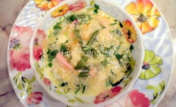 Daržovių sriuba su kumpiu