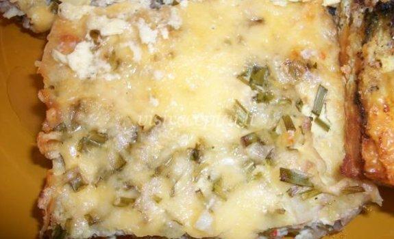 Varškės ir maltos mėsos apkepas su sūriu