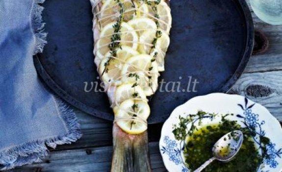 Užkepta žuvis su konjako padažu