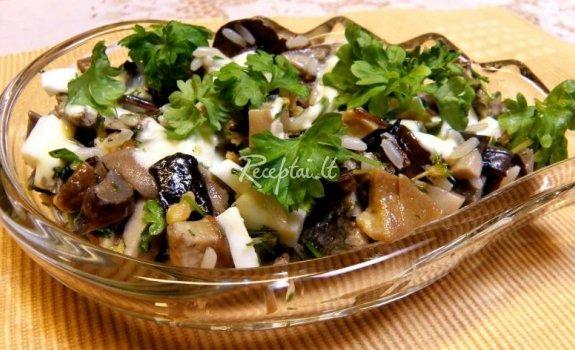 Silkių salotos su grybais ir daržovėmis