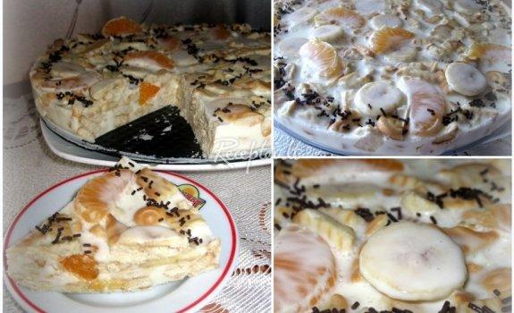 Vaisinis bananų - mandarinų tortas