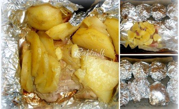 Mėsos gabaliukai su bulvėmis folijoje
